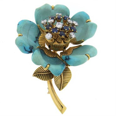 image of Exquisite French Turquoise Diamond Sapphire 18k Gold Flower Brooch