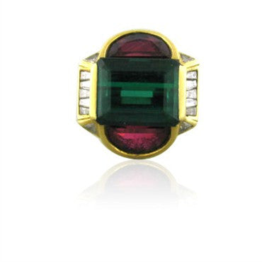 image of Vintage H. Stern 18K Gold Green Tourmaline Rubellite Diamond Ring