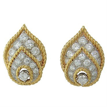 image of 1960s Van Cleef & Arpels Diamond 18K Gold Earrings