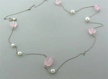 thumbnail image of Tiffany & Co Elsa Peretti Sterling Silver Pearl Rose Quartz Necklace