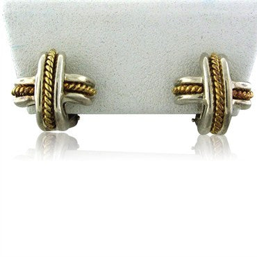 thumbnail image of Estate Tiffany & Co Sterling Silver 18K Gold Signature X Earrings