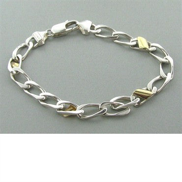 image of Tiffany & Co Sterling 18k Gold Chain Link Bracelet