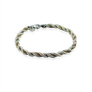 image of Tiffany & Co. Sterling Silver 18K Gold Woven Rope Bracelet