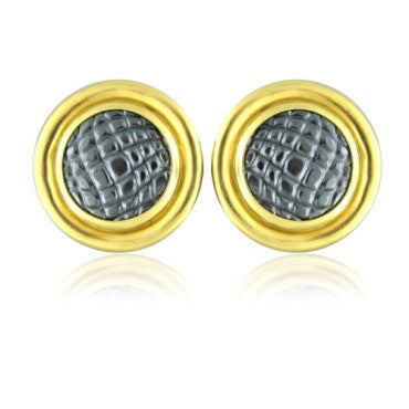 thumbnail image of Vintage Gucci 18k Gold Hematite Circle Earrings