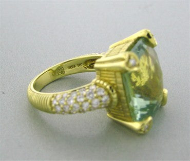 image of Judith Ripka 18k Yellow Gold Prasiolite Diamond Heart Prong Ring