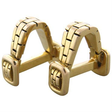 thumbnail image of Mid Century French 18K Gold Stirrup Cufflinks