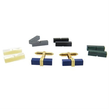 image of Lapis Malachite Onyx Hematite Gold Interchangeable Cufflinks