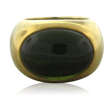 image of Pomellato 18K Gold Green Tourmaline Cabochon Ring