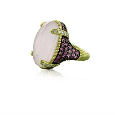 image of Judith Ripka 18k Yellow Gold Pink Sapphire Opal Diamond Glacier Ring