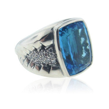 thumbnail image of Scott Kay Sterling Silver Diamond Blue Topaz Ring
