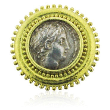 thumbnail image of Estate 18k Gold Elizabeth Locke Coin Brooch Pin Pendant