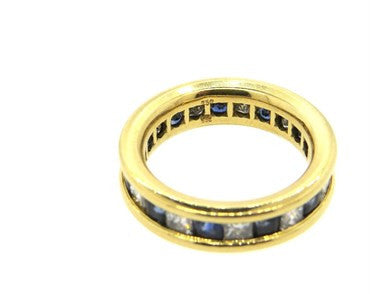 image of Gubelin Sapphire Diamond Eternity Wedding Band 18k Gold Ring