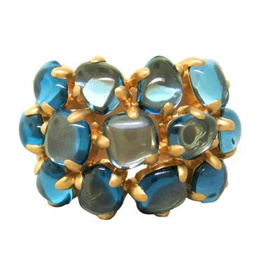 image of New Pomellato Nausicaa 18k Gold Blue Topaz Ring