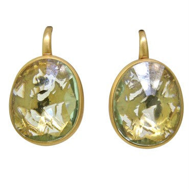 thumbnail image of New Pomellato Arabesque 18k Gold Prasiolite Earrings