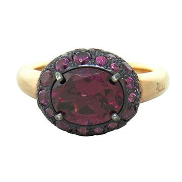 image of New Pomellato Tabou 18k Gold Burnished Silver Rhodolite Ring