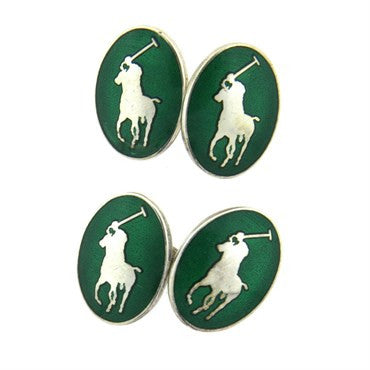 thumbnail image of Ralph Lauren Green Enamel Sterling Silver Polo Cufflinks