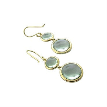 image of New Ippolita 18K Gold Green Amethyst Cabochon Double Drop Earrings
