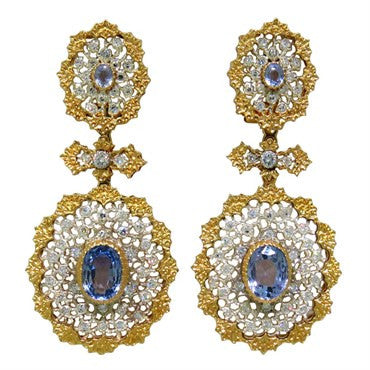 thumbnail image of Important Buccellati Sapphire Diamond Earrings
