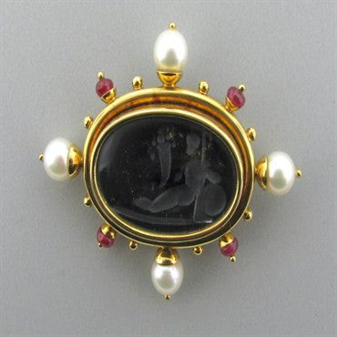 image of Elizabeth Locke 18k Gold Intaglio Ruby Pearl Brooch Pin