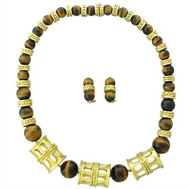 image of Gubelin 18K Yellow Gold Tiger Eye Necklace Earrings Set