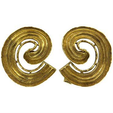 image of Large 1970s Ilias Lalaounis 18k Gold Swirl Earrings