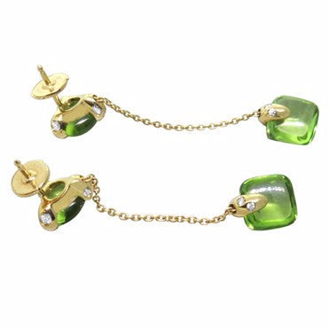 thumbnail image of New Pomellato Sassi 18k Gold Peridot Diamond Drop Earrings