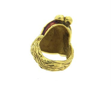 thumbnail image of Unusual Gioconda Enamel 18k Gold Positive Negative Face Ring