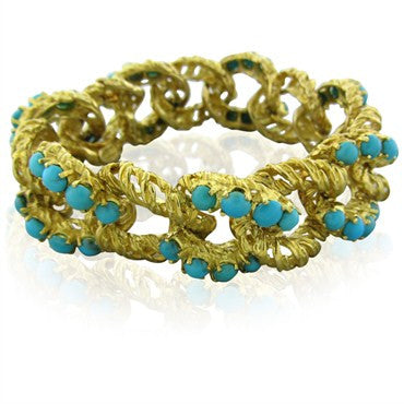 image of Vintage Spitzer And Furman 18K Yellow Gold Link Turquoise Bracelet 80g
