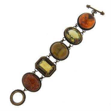 1996 Stephen Dweck Gemstone Bronze Toggle Bracelet