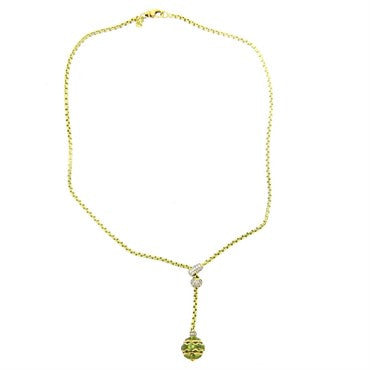 image of David Yurman 18k Gold Diamond Peridot Lariat Pendant Necklace