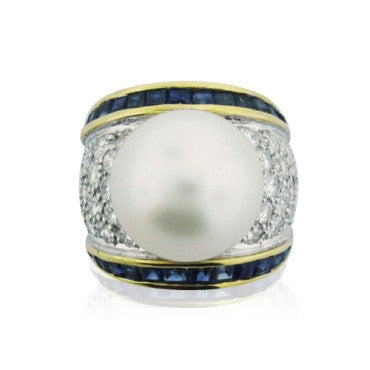 image of EGL Cert 18k Gold 14mm Pearl Diamond Sapphire Ring
