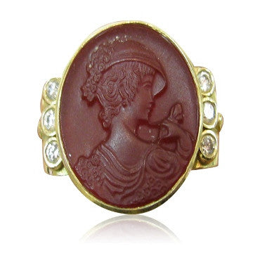 image of Estate Seidangang 18K Gold Intaglio Diamond Ring