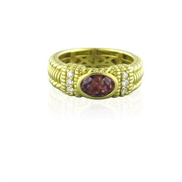 image of Estate Judith Ripka 18K Yellow Gold Gemstone Diamond Ring