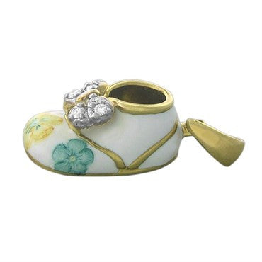 image of Felix Vollman 18k Gold Flower Enamel Diamond Baby Shoe Charm Pendant