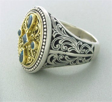 thumbnail image of Konstantino Sterling Silver 18K Yellow Gold Blue Topaz Large Ring
