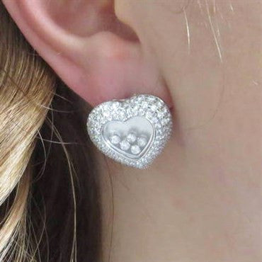 thumbnail image of New Chopard Floating 3.71ctw Diamond Heart 18k Gold Earrings