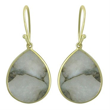 image of New Ippolita 18k Gold White Calcite Bronze Matrix Teardrop Earrings