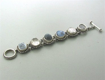 image of Stephen Dweck Sterling Silver Multi Color Gemstone Bracelet