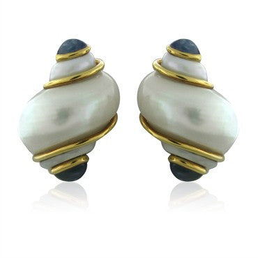 image of Seaman Schepps 18K Yellow Gold Seashell Sapphire Cabochon Earrings