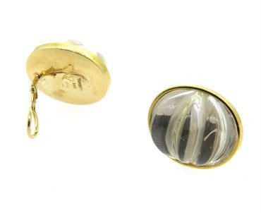 thumbnail image of Large Tambetti Carved Crystal 18k Gold Earrings