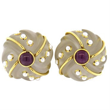 thumbnail image of Seaman Schepps Carved Frosted Crystal Ruby Pearl Gold Earrings