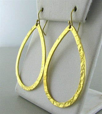 image of Ippolita 18K Gold Hammered Finish Drop Earrings
