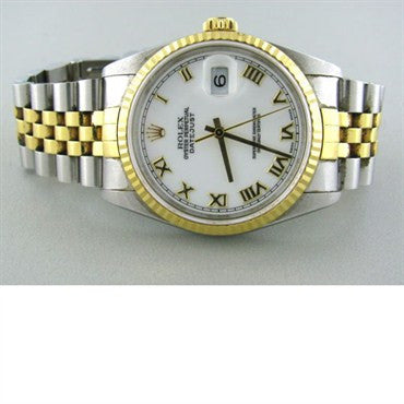 thumbnail image of Rolex Datejust Stainless 18k Gold Mens Watch 16233
