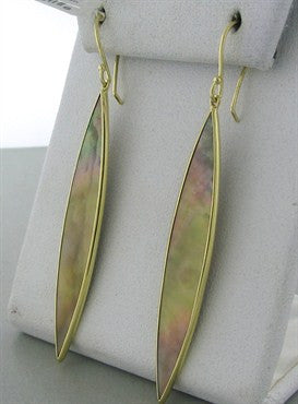thumbnail image of New Ippolita 18K Gold Polished Rock Candy Marquis Brown Shell Earrings