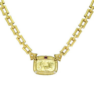 thumbnail image of Seidengang Athena 18k Gold Pink Tourmaline Diamond Pendant Necklace