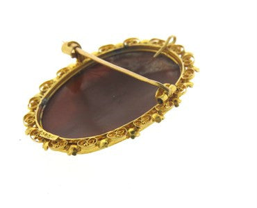 thumbnail image of Antique Filigree 14k Gold Cameo Brooch Pendant