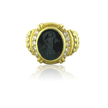image of Judith Ripka 18K Gold Diamond Bloodstone Intaglio Ring