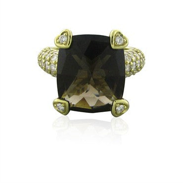 image of Judith Ripka 18K Yellow Gold Smokey Topaz Diamond Ring