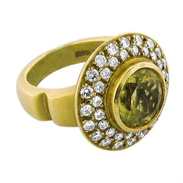 image of 18k Gold Kieselstein Cord Yellow Beryl Diamond Ring