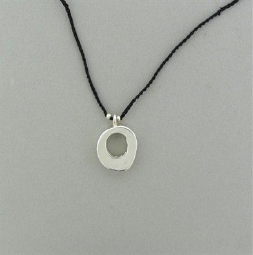 image of Jill Platner Sterling Silver Leather Cord Circle Pendant Necklace